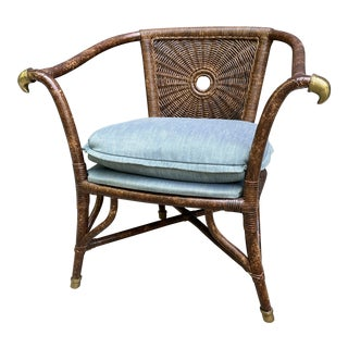 Vintage Drexel Heritage Scorched Rattan Chair For Sale