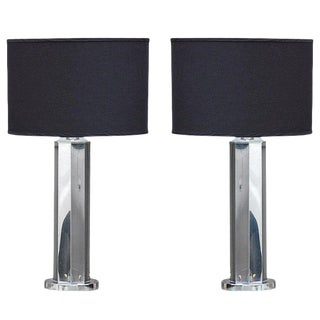 1970s Modern Polished Chrome Table Lamps - a Pair For Sale
