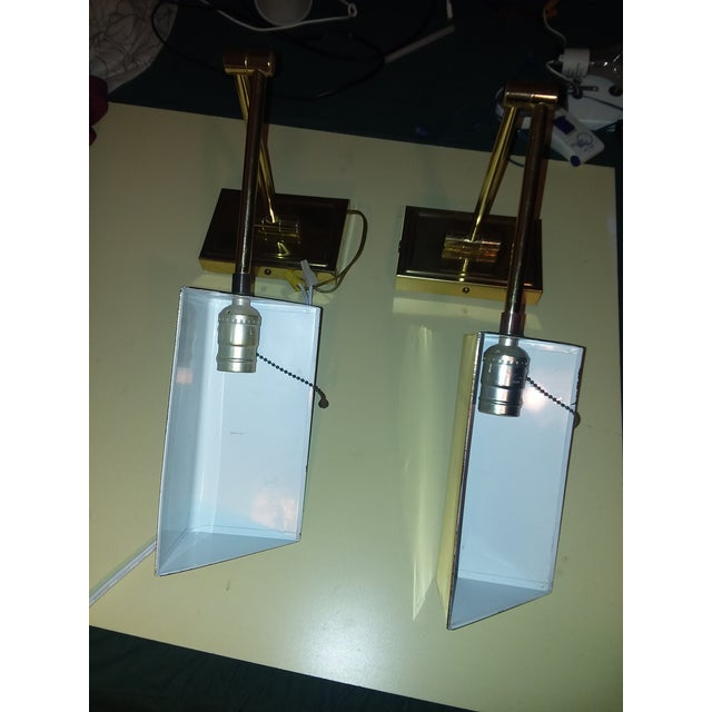 1970s Koch & Lowy Brass Swing Arm Sconces - a Pair For Sale - Image 9 of 12