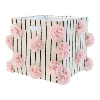 Organic Cotton Striped Pom Pom Storage Bin, Pink For Sale