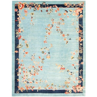 """8'11"""" X 11'9"""" Sky Blue Hand-Knotted Rug For Sale"""