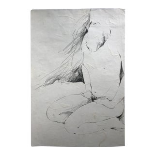 Kneeling Male Nude Figure Drawing For Sale