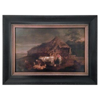 17th Century Antique Dutch Old Master Barnyard With Farm Animals Painting For Sale