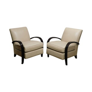 Mc Creary Modern Room & Board Art Deco Style Pair Leather Lounge Chairs For Sale