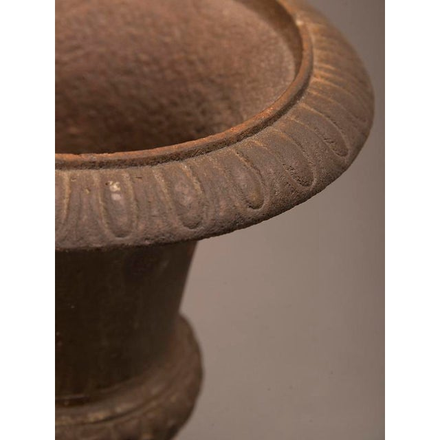 A cast iron garden urn from France c. 1890 in the form of an antique Italian original having a lovely diminutive scale For Sale In Houston - Image 6 of 6