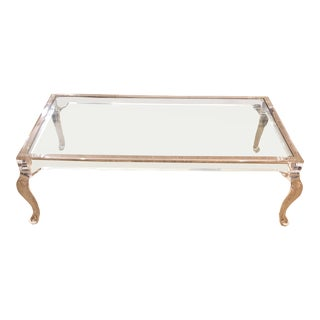 Queen Anne Lucite & Glass Coffee Table