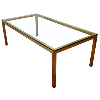Vintage Mid-Century Modern Bronze Brass & Glass Rectangular Dining Table Brueton