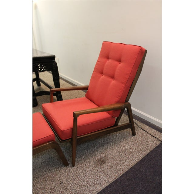 Mid-Century Modern Pearsall-Style Chair & Ottoman - Image 4 of 10