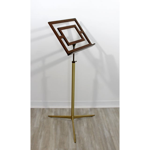 Mid Century Modern Wood Brass Italian Music Art Pedestal Display Stand