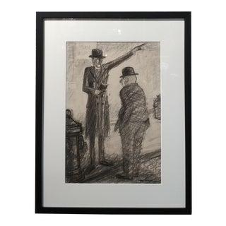 "1930s Carl Hugo Beetz ""The Preacher"" California Regionalist Drawing For Sale"