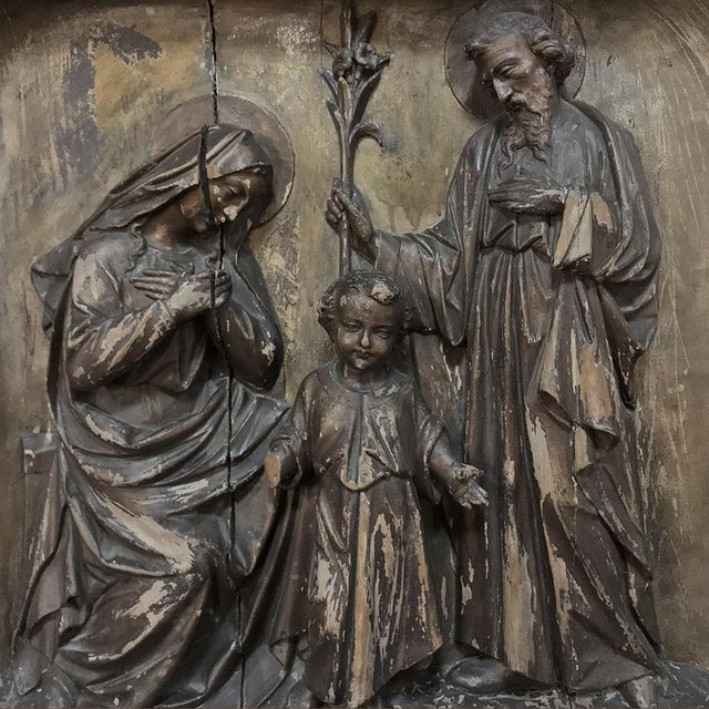 19th Century Carved Panel of the Holy Family For Sale In Baton Rouge - Image 6 of 11