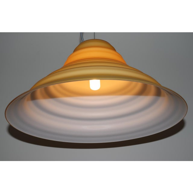"""Incamiciato"" Amber Murano Glass Mid-Century Modern Pendant Light For Sale - Image 10 of 11"