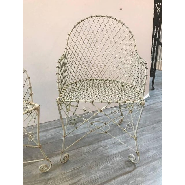French Painted Wire Tub Back Chairs - a Pair - Image 2 of 10