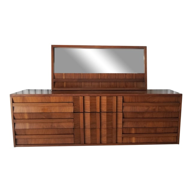 1970s Brutalist Lane Credenza/Long Chest of Drawers with Mirror For Sale