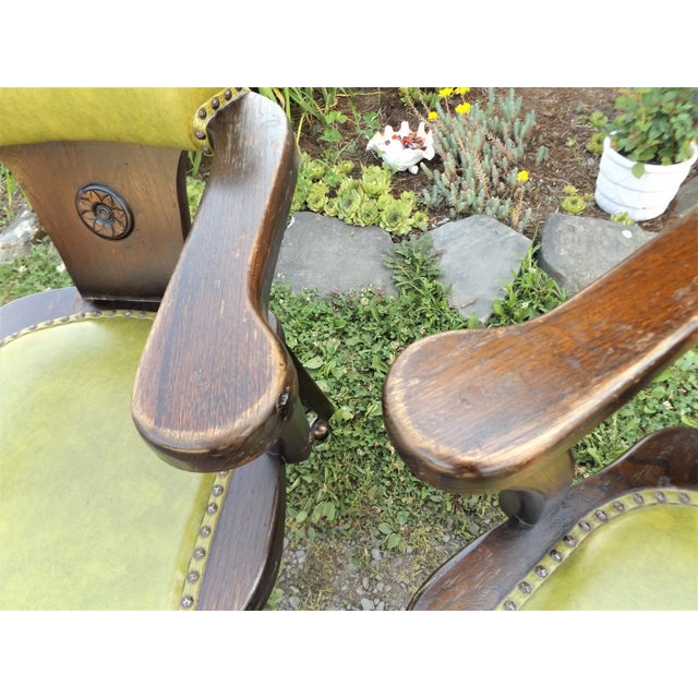 Green Wood and Avocado Vinyl Mid-Century Arm Chairs - Set of 3 For Sale - Image 8 of 13