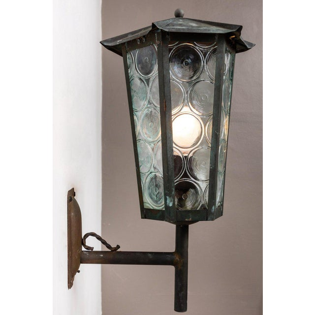1950s Large Scandinavian Outdoor Wall Lights in Patinated Copper and Glass For Sale In Los Angeles - Image 6 of 11