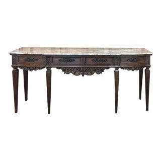 Antique Grand Italian Walnut Marble Top Console For Sale
