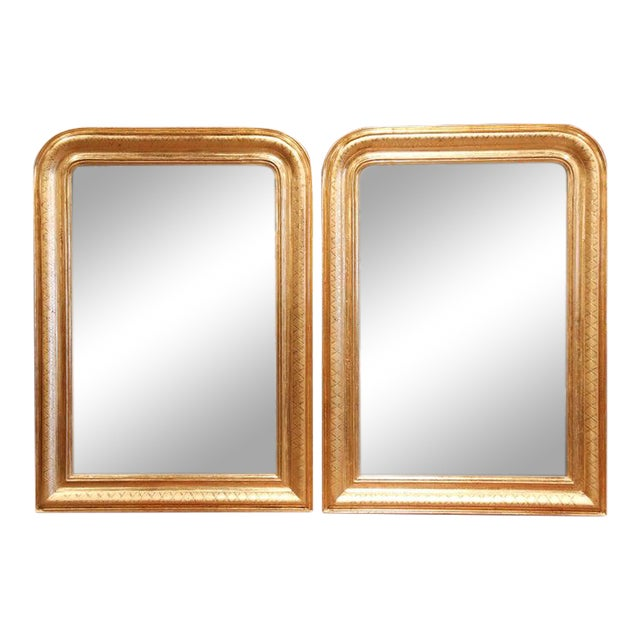 Pair of Midcentury French Louis Philippe Giltwood Mirrors With Engraved X Decor For Sale