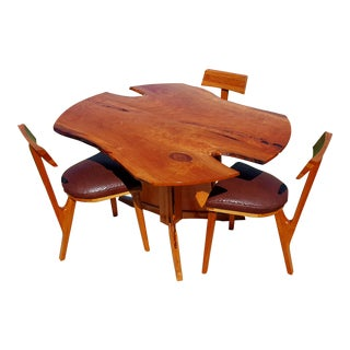 Rustic Modern Live Edge Cherry Dining Set - 4 Pieces For Sale