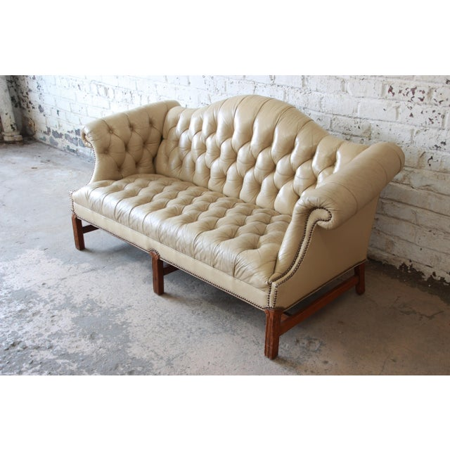 Vintage Tufted Tan Leather Chesterfield Sofa For Sale - Image 4 of 10