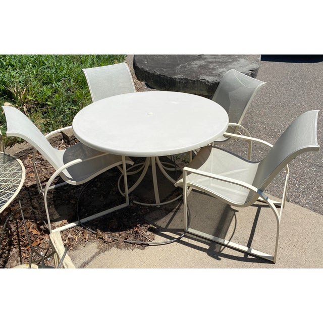 Mid-Century Modern Mid Century Modern Woodard Margarita Patio Dining Set Table 4 Curved Chairs - Set of 5 For Sale - Image 3 of 12