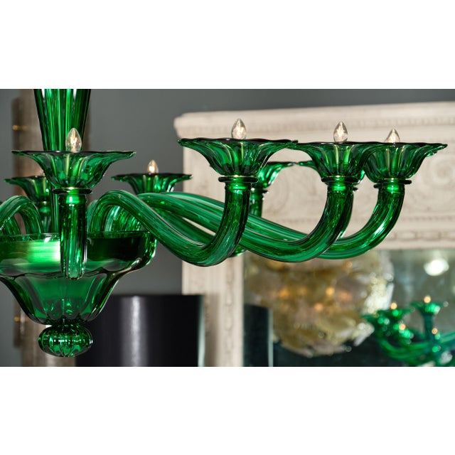 Emerald Green Murano Glass Chandelier For Sale In Austin - Image 6 of 10