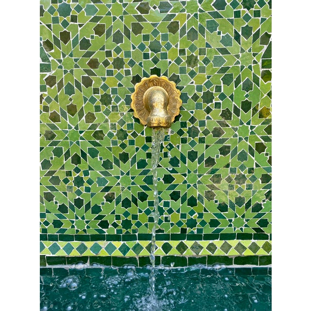 2020s Green Moroccan Tile Wall Fountain For Sale - Image 5 of 7