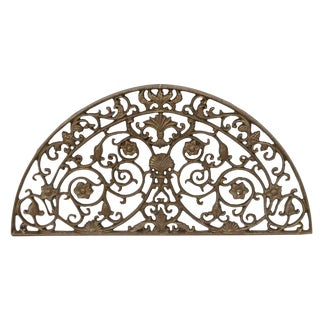 1990s Vintage Architectural Painted Cast Iron Lunette Panel For Sale