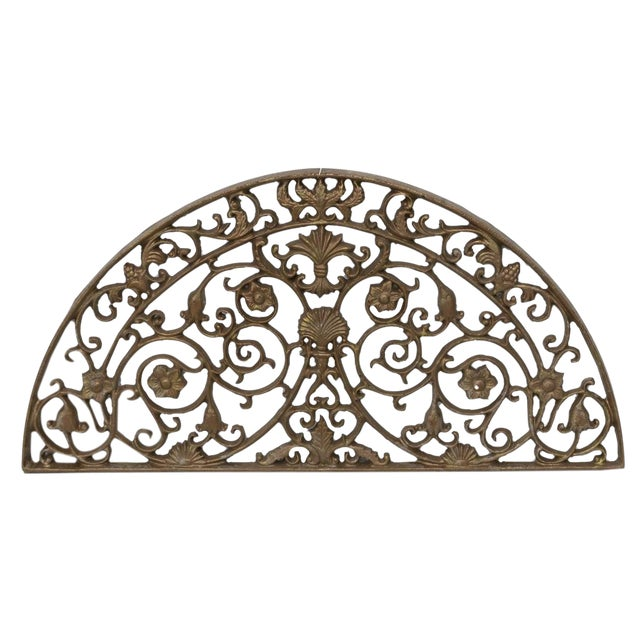 Vintage Architectural Painted Cast Iron Lunette Panel For Sale