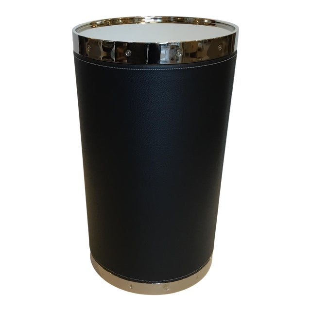 Modern Black Leather and Nickel Barrel Side Table For Sale