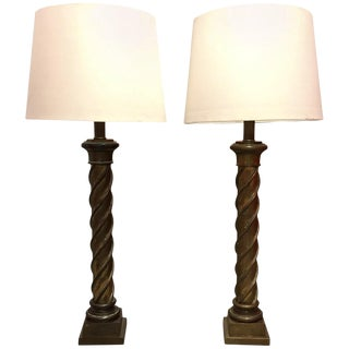 1980s Tall Twisted Column Brass Floor Lamps - a Pair For Sale