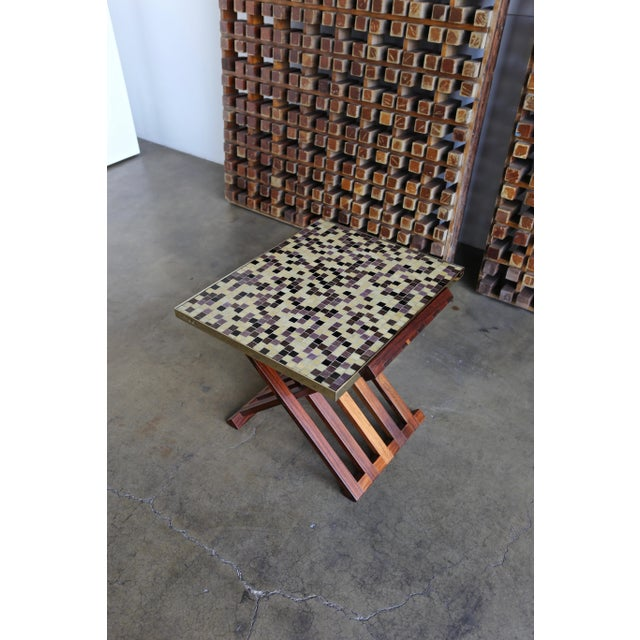 Mid-Century Modern Edward Wormley X-Base Rosewood and Murano Tile-Top Table For Sale - Image 3 of 12