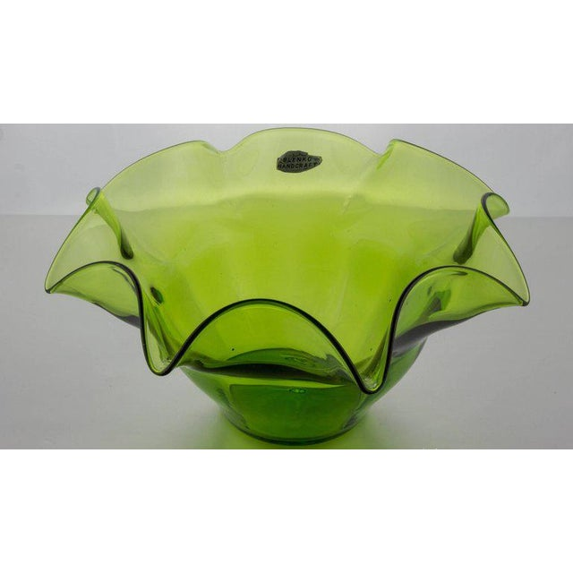Green Blenko Fluted Fruit Bowl - Image 10 of 11