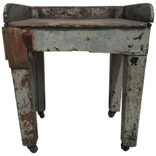 Rustic Folk Farmhouse Side Table With Hook For Sale
