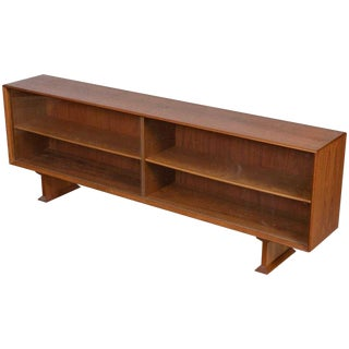 1960s Danish Modern Teak Credenza Top With Glass Sliding Doors For Sale