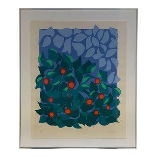 1981 Free Form Floral Landscape Serigraph by Nadine Prado For Sale