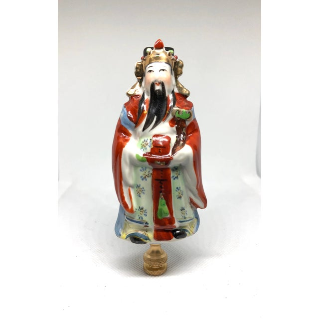 2010s Chinoiserie Porcelain Immortal Figure Lamp Finial For Sale - Image 5 of 5