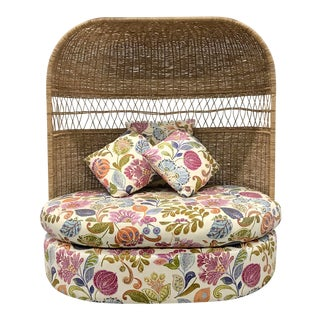 Vintage Hooded Wicker Upholstered Loveseat