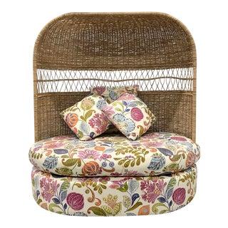 Vintage Hooded Wicker Upholstered Loveseat For Sale