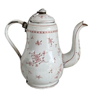 Antique French White and Pink Enamelware Coffee Pot For Sale