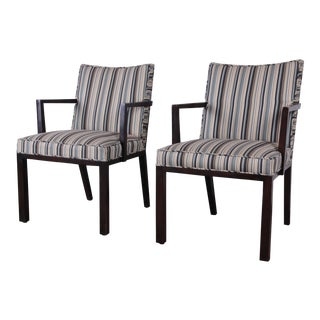 Edward Wormley for Dunbar Mahogany Club Chairs - a Pair For Sale