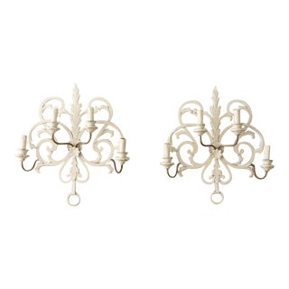 Mid Century Italian Design Florentiner Four Light Wall Sconces - a Pair For Sale