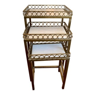 Hollywood Regency Iron-Frame Nesting Tables With Marble Top - Set of 3 For Sale
