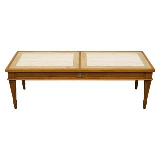 20th Century Italian Hekman Furniture Marble Top Coffee Table For Sale