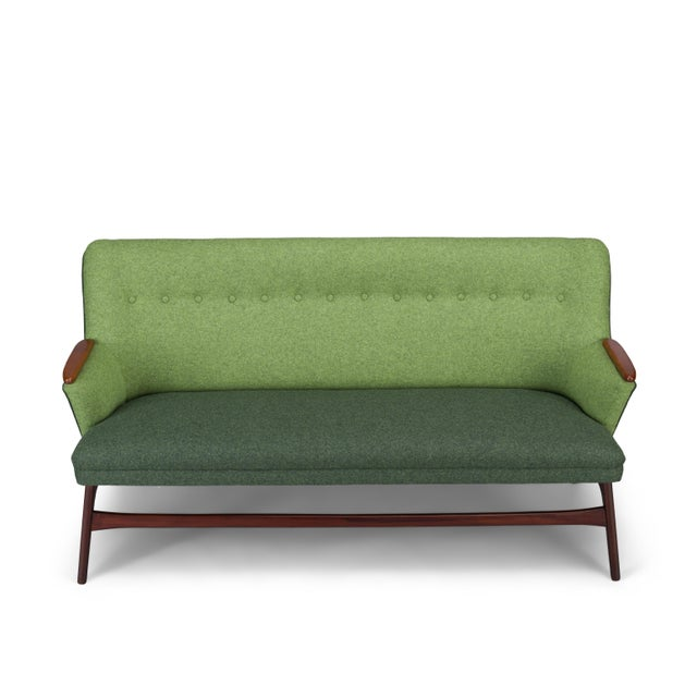 Edgy Danish Reupholstered Green Sofa from CFC Silkeborg, 1960s For Sale - Image 6 of 13