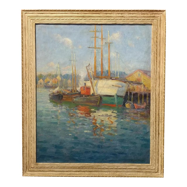 Frederick Carl Smith -Boats in the Port -Impressionist Oil painting c1930s Oil painting on Canvas -Signed - Image 1 of 10