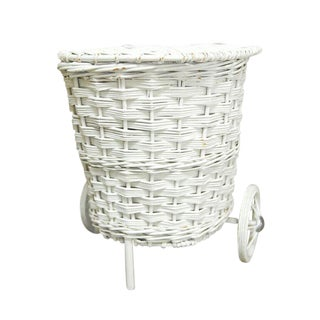 Vintage White Wicker Market Basket