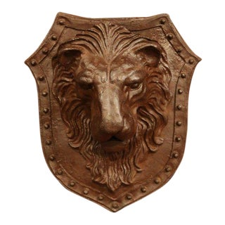 19th Century French Patinated Wrought Iron Lion Head Wall-Mounted Crest For Sale