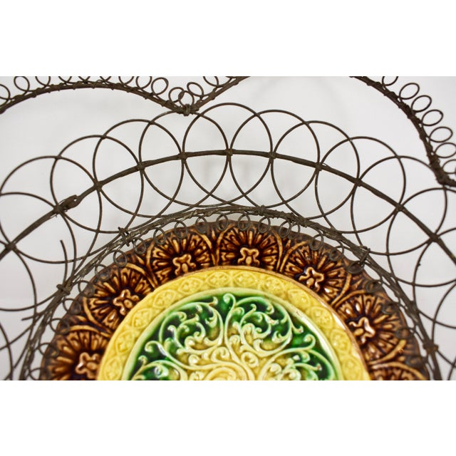 Green German Majolica & Looped Wire Basket For Sale - Image 8 of 11