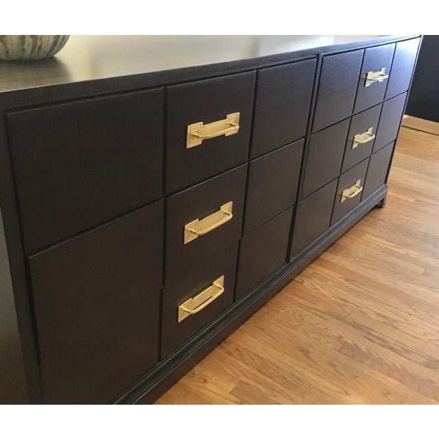 Charak Furniture Company 1950's Mid Century Tommi Parzinger for Charak Ebonized Chest of Drawers For Sale - Image 4 of 13